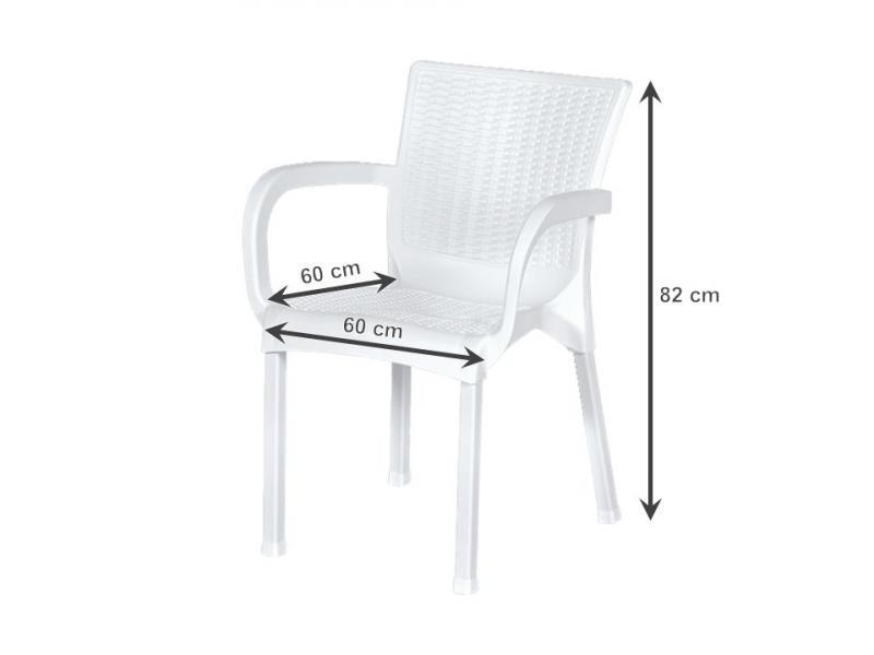Krzesło Ogrodowe Rattan 60x60x82 Cm Białe